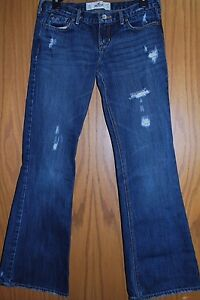 HOLLISTER-Womens-Juniors-Med-Wash-Distressed-Destroyed-Jeans-Size-5S-E474