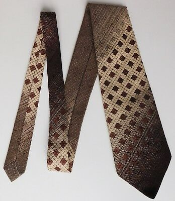 Vintage Tootal kipper tie brown beige striped floral check 1960s 1970s wide