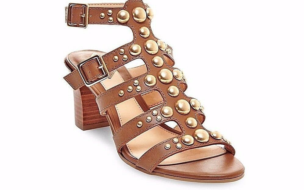 Brian Atwood  Blaise  Cognac Studded Leather Sandals Studded 8 NWOB  170