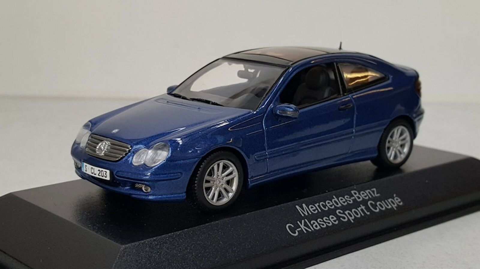 MERCEDES BENZ C KLASSE SPORT COUPE 2000 CL203 JASPER blueE METAL MINICHAMPS 1 43