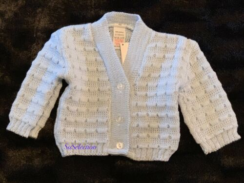 GORGEOUS BABY BOY GIRL WHITE//PINK//BLUE CARDIGAN 0//3-3//6-6//9 MONTHS NEW