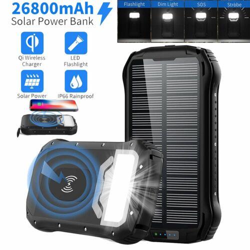 26800mAh Solar Powerbank Externer Batterie Ladegerät USB Zusatz Akku für Handys