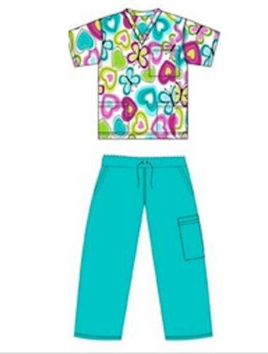 Scrubs Printed Set Basic 3 pocket Top /& Pant Butterflies /& Hearts on White BG