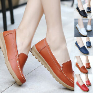 Ladies-Women-Flats-Fur-Moccasins-Boat-Oxfords-Shoes-Genuine-Leather-Loafers