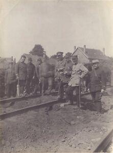 France-Belgium-Big-Large-Guerre-WW1-Chemin-Iron-Photo-Vintage-c1915