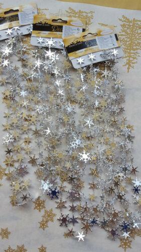 Krebs /& Sohn Dekoration 10 Stück Schneeflockenkette//Weihnachtskette Silber 270cm