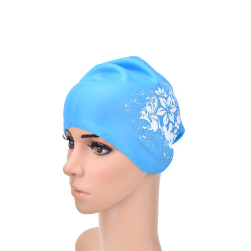 Women swimming caps Silicone Long Hair Girls Waterproof Swimming Cap Ear Cup、Fad