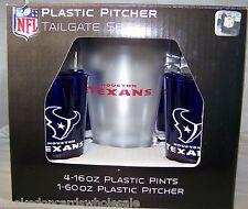 Houston Texans NFL Plastic 60oz. Pitcher & 4 -16oz. Glasses Tailgate Gift Set