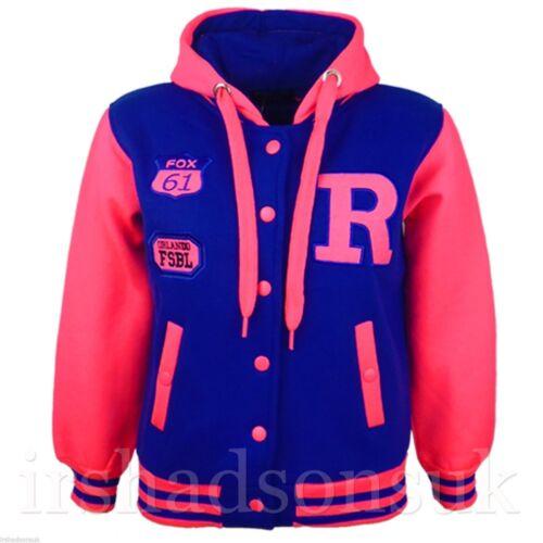 Kinder Mädchen Jungen Uni Nyc Fox Baseball R Neon Hell mit Kapuze Jacke 7-13