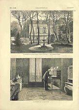 Bureau Chambre Maison de Victor Hugo Avenue d'Eylau Paris 75016 GRAVURE 1881