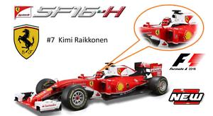 Bburago escala 1 18 Ferrari SF16-T 2016 Kimi Raikkonen  7 coche de Fórmula 1 F1 16802R