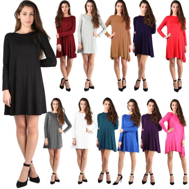 New Ladies Womens Plain Long Sleeve Stretch A Line Skater Tartan Swing Dress Top