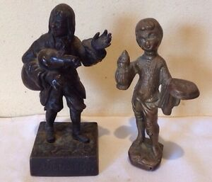 ANTIQUE BRONZE STATUE OF AUGUSTIN AND A BOY