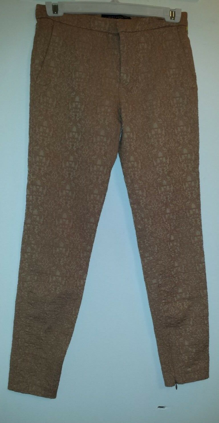 5aa48bc7ee3d77 ZARA Narrow Leg Trouser Pants XS made in Mgoldcco size PRINTED osnekl7499- Pants