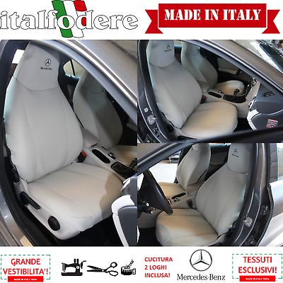 2019 Ultimo Disegno Coppia Coprisedili Anteriori Logo Fodere Foderine Mercedes Sedile Testone Ecrù