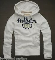 Hollister White/ivory Hoodie Jacket Me's Large L Pockets Pullover Sweatshirt