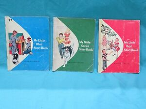 Lot-of-3-My-Little-Red-Green-Blue-Story-Book-The-Ginn-Basic-Readers-1957-Set