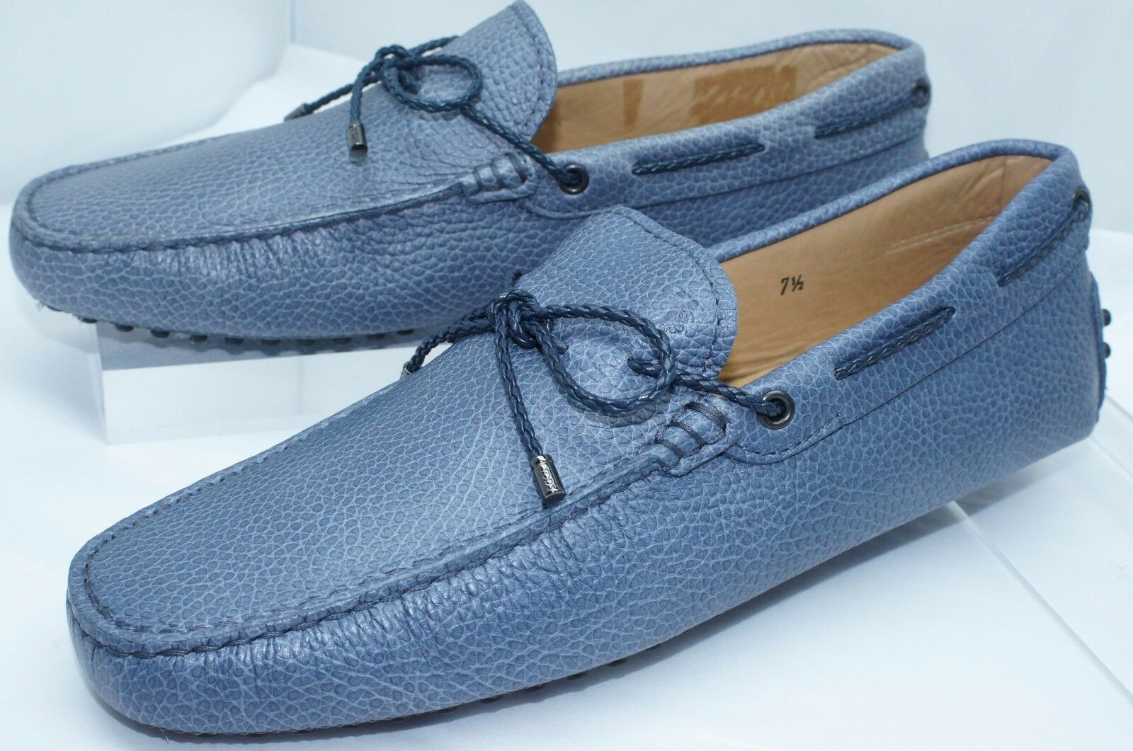 New Tod's Mens Shoes Woven Lace Loafers Size 9.5 Blue Drivers Leather