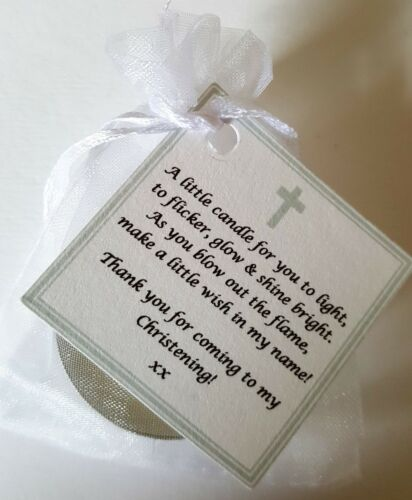 NAMING CEREMONY CANDLE FAVOURS PERSONALISED CHRISTENING BAPTISM GIFTS