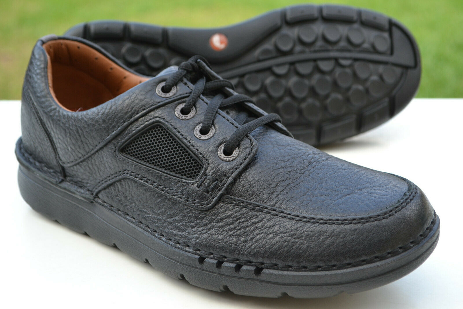 Clarks Mens Lightweight Casual Shoes UN NATURE TIME Black Leather UK 11 / 46