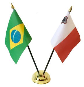 Brazil & Malta Double Friendship Flags Table Set With Base