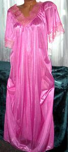 Vivid-Rose-Pink-Long-Nightgown-M-Hi-Back-Lace-Trim-Full-Cut