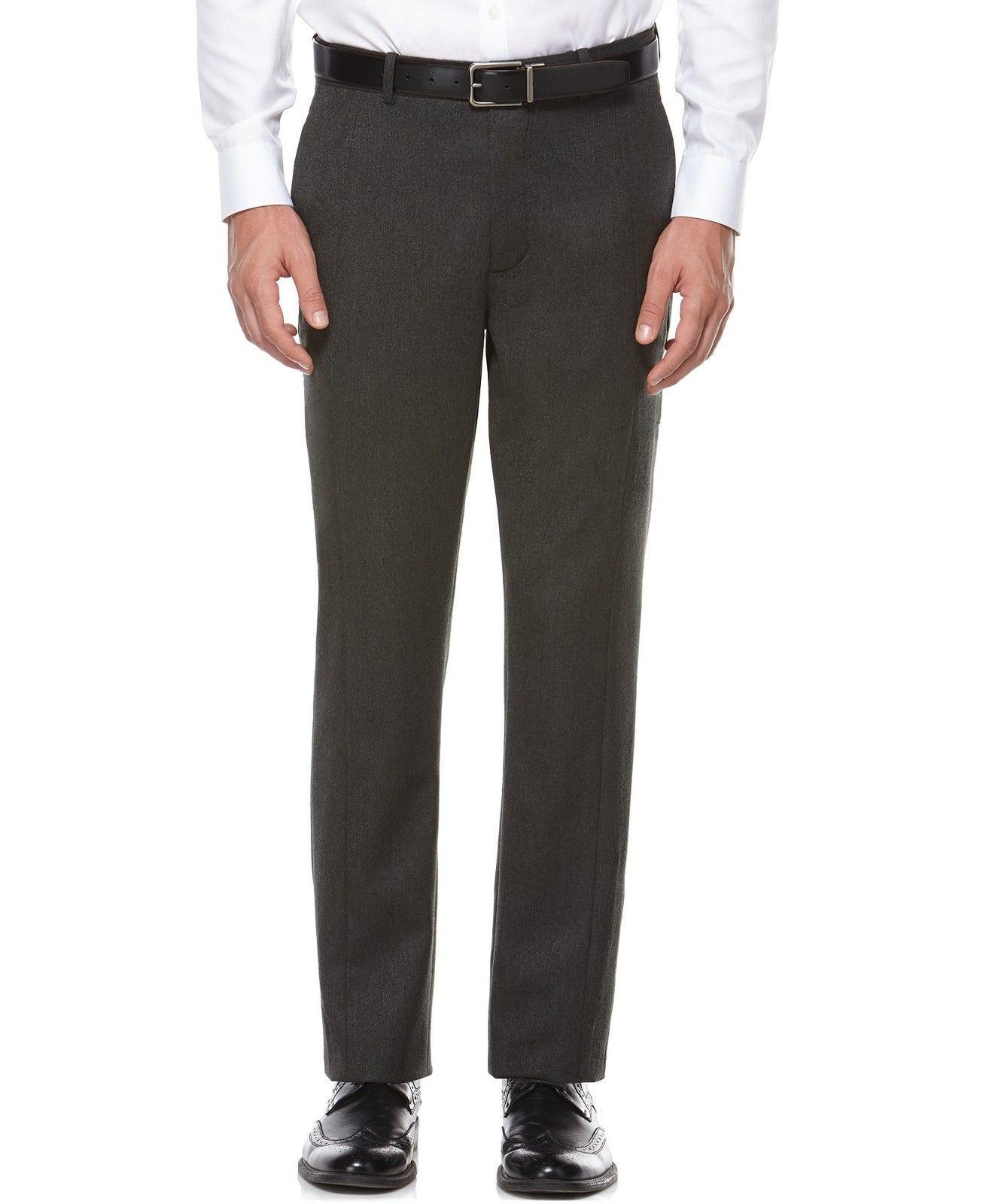 New Mens Perry Ellis Wool Cargo Tweed Pants Deep Liche Flat Front 32 x 30