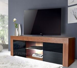 Image Is Loading Modern Walnut And High Gloss Black Tv Unit