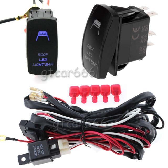 car 5 pin roof led light laser rocker switch kit with 40a relay Wiring Car Relay Switch 40amp 300w car atv rv roof led light bar 5 pin rocker switch wiring