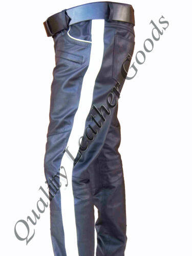 Jeans Pants amp; Colored Strip Side Trouser Luxury With Stylish Piping Mens Leather wqBUaa