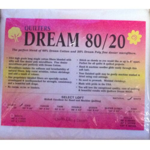 """Quilters Dream Crib White 80//20 Blend Select Quilt Batting 60/"""" x 46/"""""""