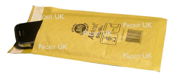 100 x JIFFY Bags JL00 Padded Envelopes 115 x 195 B/00 Gold