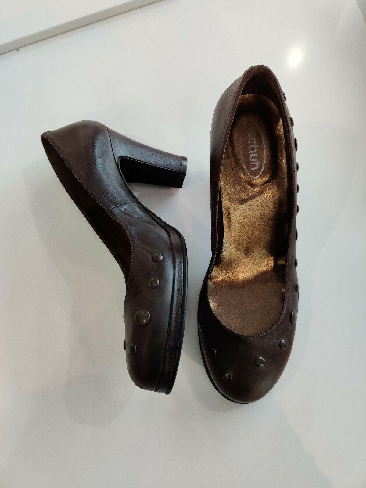 Womens SCHUH Chocolate Brown Platform Leather Shoes Size 5 EU38 Block Heel Studs