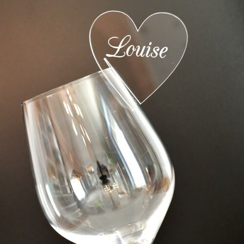 Personalised Heart Wine Glass Charms For Weddings Hen Party Top Table Guest