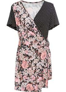 Damen Kleid Mit Schnalle In Schwarz Rosa Geblumt Gr 40 42 Neu Ebay