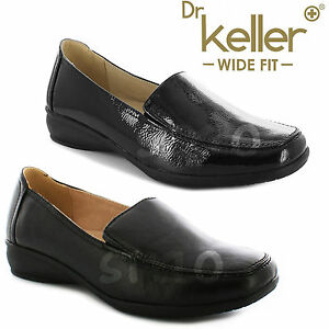 f980cb4c454 Details about LADIES WOMEN WIDE FIT SHOES LOW WEDGE LEATHER LINING WORK  MOCCASIN CASUAL LOAFER