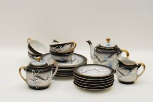 23 Pc Nagoya Dragonware Geisha Teaset Tea Pot Cups Saucers Plates