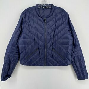 Athleta Full Zip Goose Down Blue Puffer Jacket Women's Size Large