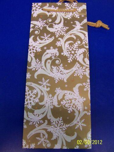 Elegant Entertaining Gold Snowflake Christmas Holiday Party Bottle Gift Bag
