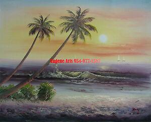 """20x24/"""" hand painted oil flat .Mediterranean//Ocean//Beach //High Quality 41x61cm"""