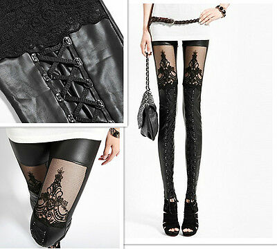 HOT Sexy Faux PU Leather Retro Gothic Punk Style Lace Black Leggings Tights Pant