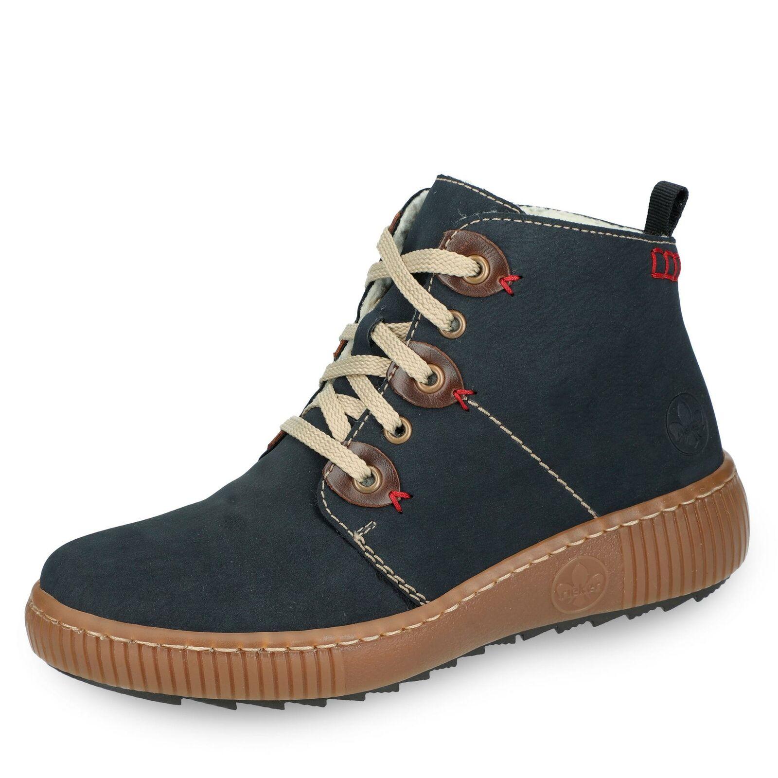 Rieker Damen SchnürStiefel Stiefeletten Winterschuh Schnürstiefelette Schuhe blau