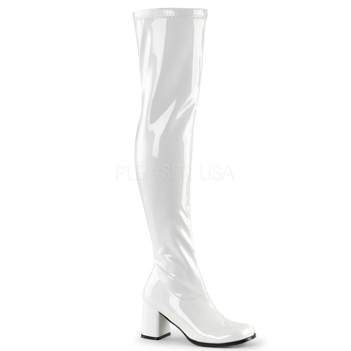 White Patent Thigh High 60s 70s Hippie Drag Queen Gogo Gogo Gogo Boots Womans size 13 14 a37524