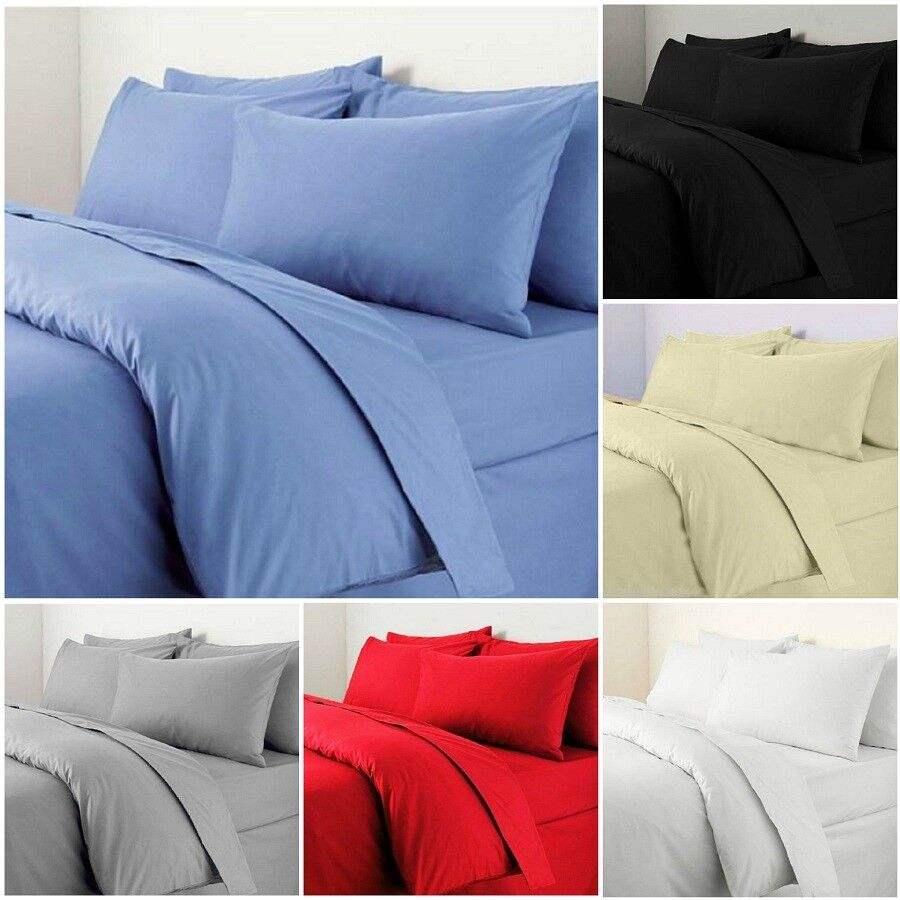 100/% Egyptian Cotton Duvet Cover With Pillow Case 300TC Bedding Set All Sizes