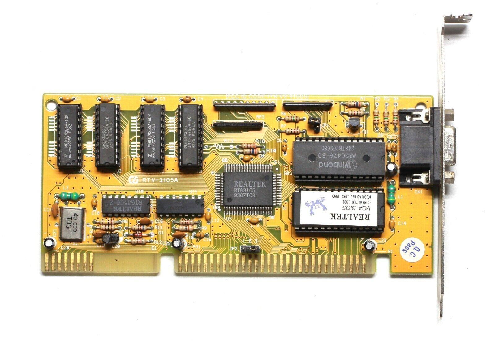 ISA video card - Realtek RTG3105 - 512KB - TESTED
