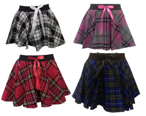 Girls Kids Children Dance School Uniform PE Gym Stretch Tartan Skirt Age 5//10