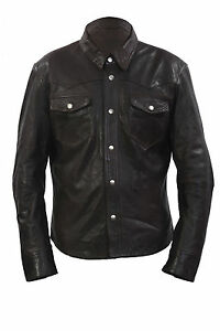 Infinity Men's Retro Denim Style SlimFit Casual Brown Leather Shirt Jeans Jacket