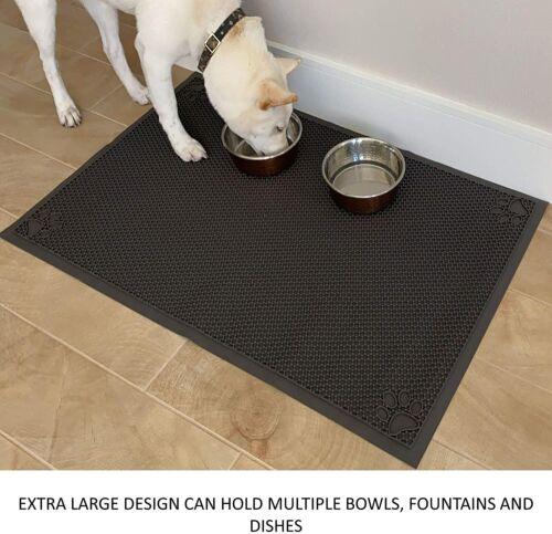 "Black Ultra Large Dog Cat Pet Feeding Mat Non-Slip Waterproof 23/"" L x 36/"" W"