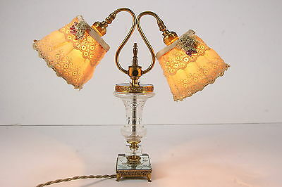 Antique Czechoslovakia Cut Crystal Dbl Gooseneck Lamp Boudoir Bedside Table