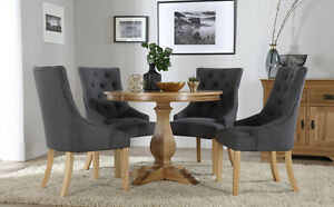 Image Is Loading Cavendish Round Oak Dining Table And 4 Fabric